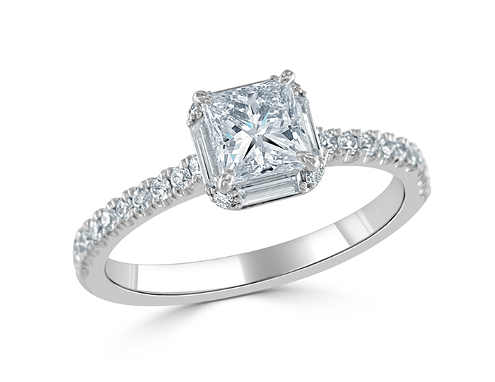 Princess cut diamond engagement ring with baguette and round brilliant cut diamonds in 18k white gold.