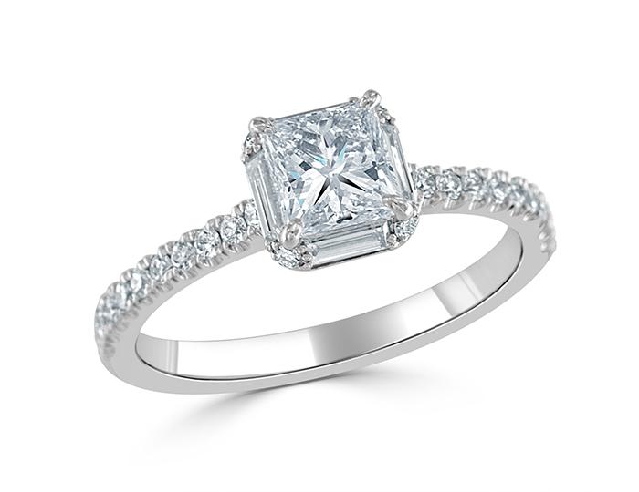 Bez Ambar princess cut, baguette cut and round brilliant cut diamond engagement ring in 18k white gold.