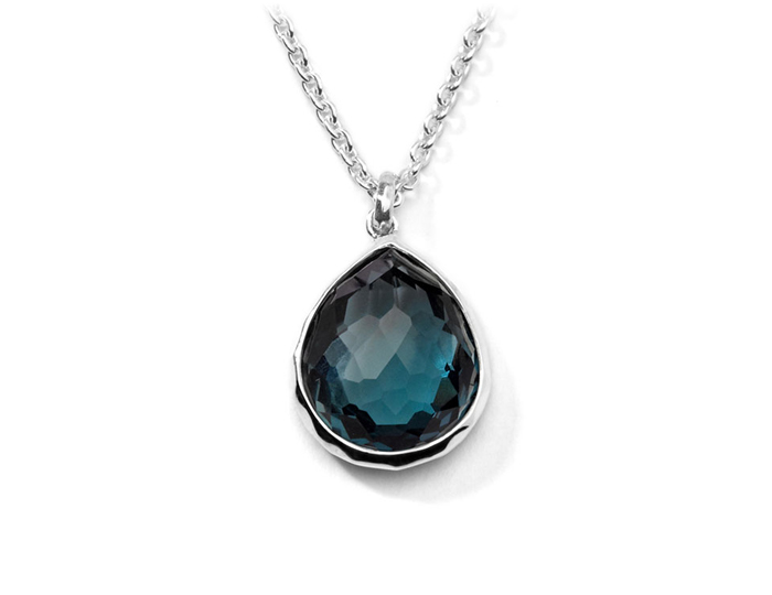 "IPPOLITA Sterling Silver Rock Candy Teardrop Pendant Necklace in London Blue Topaz 16-18""."