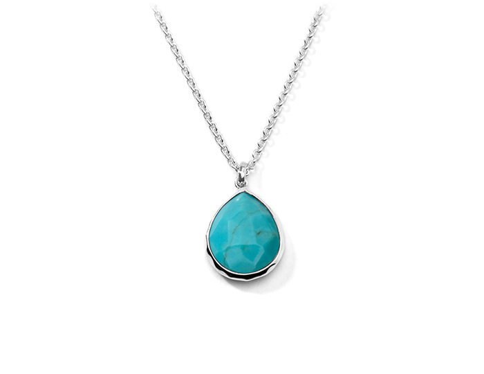 "IPPOLITA Sterling Silver Rock Candy Teardrop Pendant Necklace in Turquoise 16-18""."