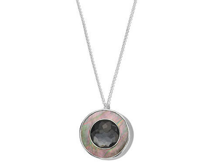 Ippolita Ondine collection black shell and hematite necklace in sterling silver.