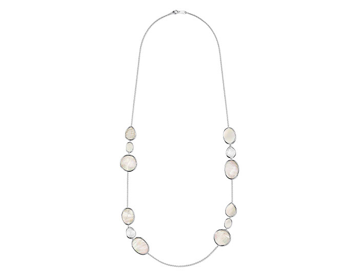"Ippolita Ondine collection clear quartz and mother-of-pearl 37"" necklace in sterling silver."
