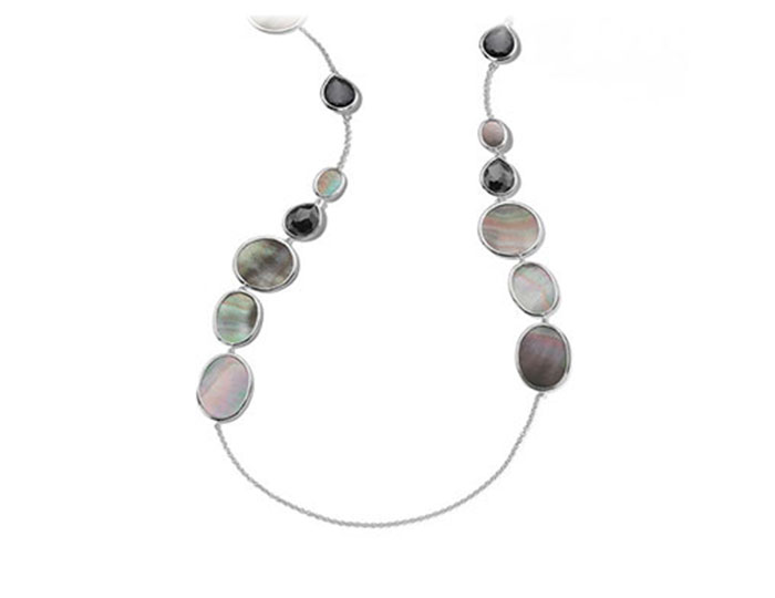 "Ippolita Ondine collection black shell and hematite 47"" necklace in sterling silver."