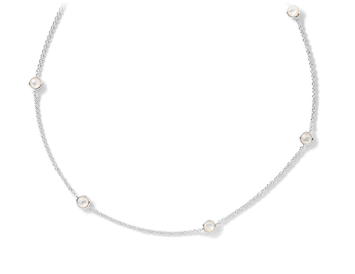 "IPPOLITA Sterling Silver Rock Candy Long Stone Station Necklace in Mother-of-Pearl Doublet 48""."