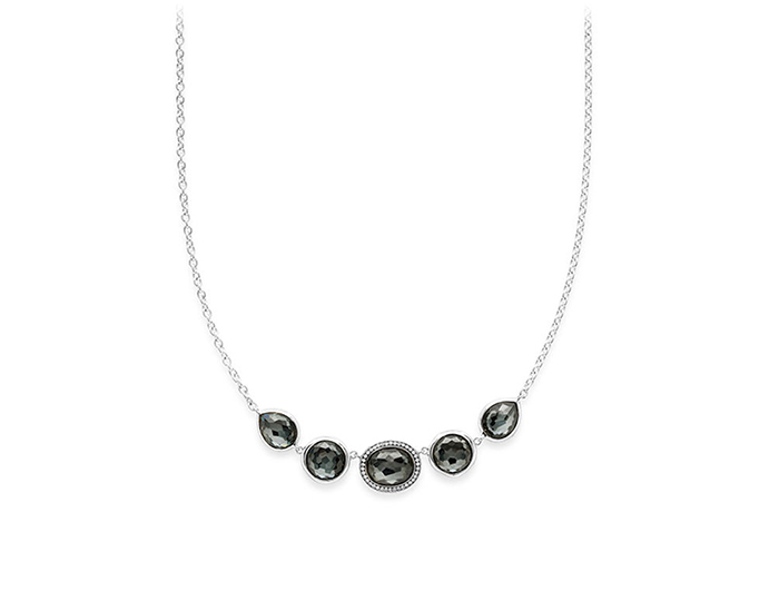 IPPOLITA Sterling Silver Lollipop Necklace in Hematite Doublet with Diamonds.