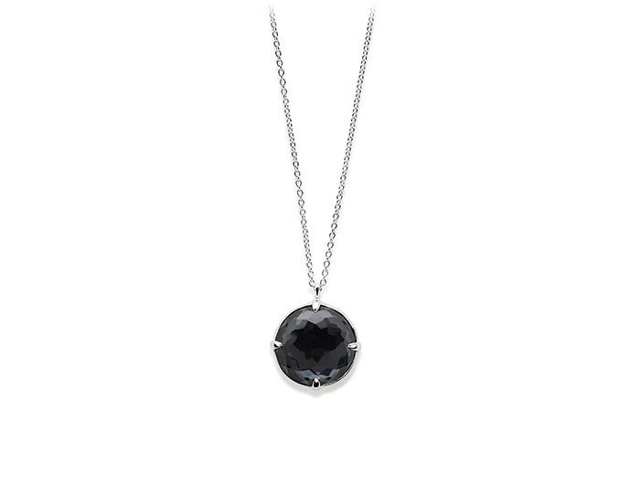 IPPOLITA Sterling Silver Rock Candy Medium Round Pendant Necklace in Clear Quartz and Hematite.