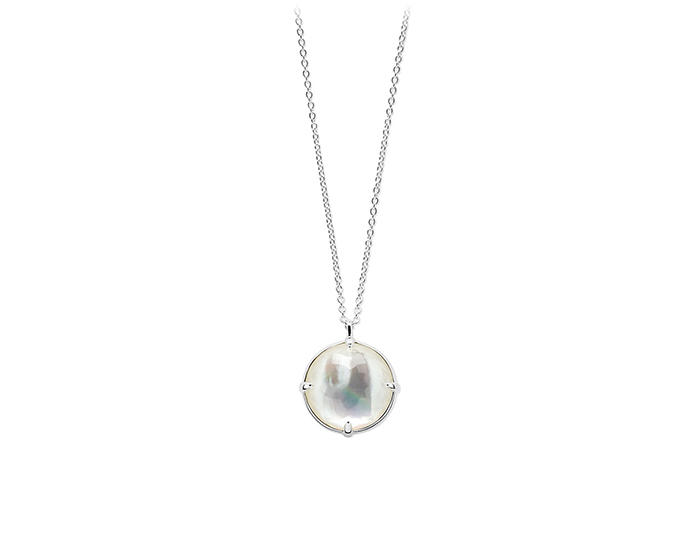 IPPOLITA Sterling Silver Rock Candy Medium Round Pendant Necklace in Clear Quartz and Mother-of-Pearl.