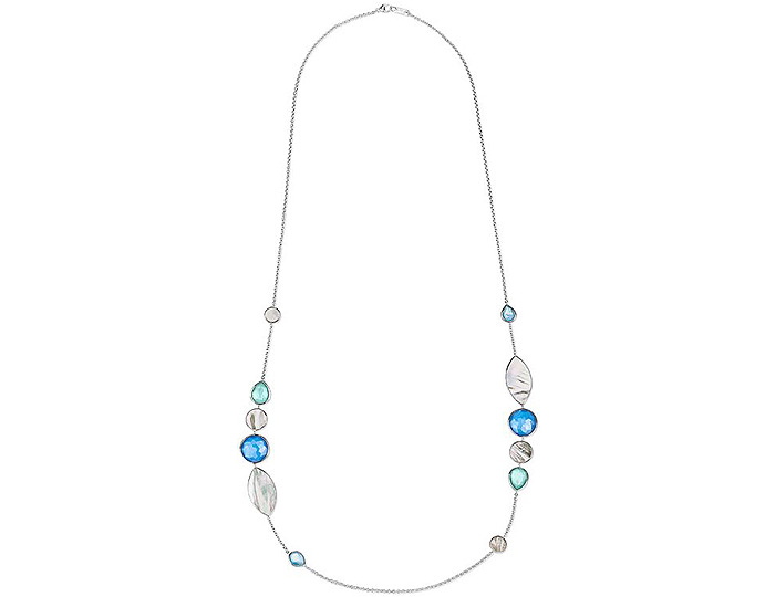 "Ippolita Wonderland Collection Sterling Silver Multi-Stone 38"" Necklace in Brazilian Blue."