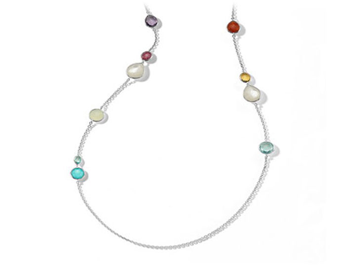 "Ippolita Rock Candy collection multi-stone 40"" necklace in sterling silver."