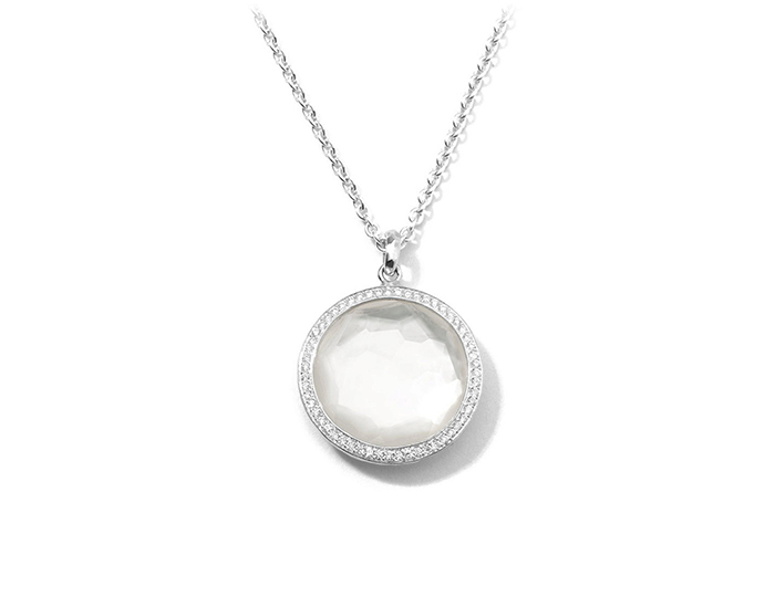 "IPPOLITA Sterling Silver Stella Large Lollipop Pendant Necklace in MOP Doublet with Diamonds 16-18""."