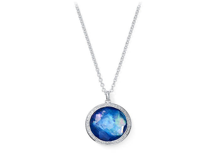 IPPOLITA Sterling Silver Lollipop Lapis Pendant with Round Brilliant Diamonds.
