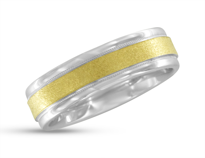 Men's wedding band in 14k yellow and white gold.
