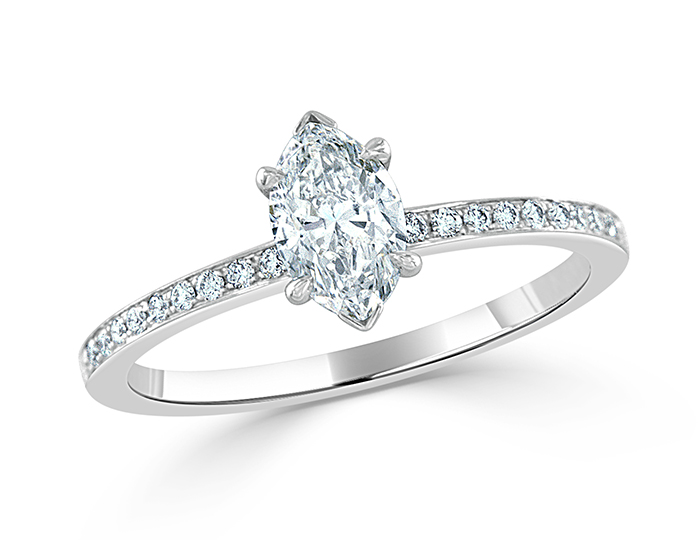 Marquise and round brilliant cut diamond engagement ring in 18k white gold.