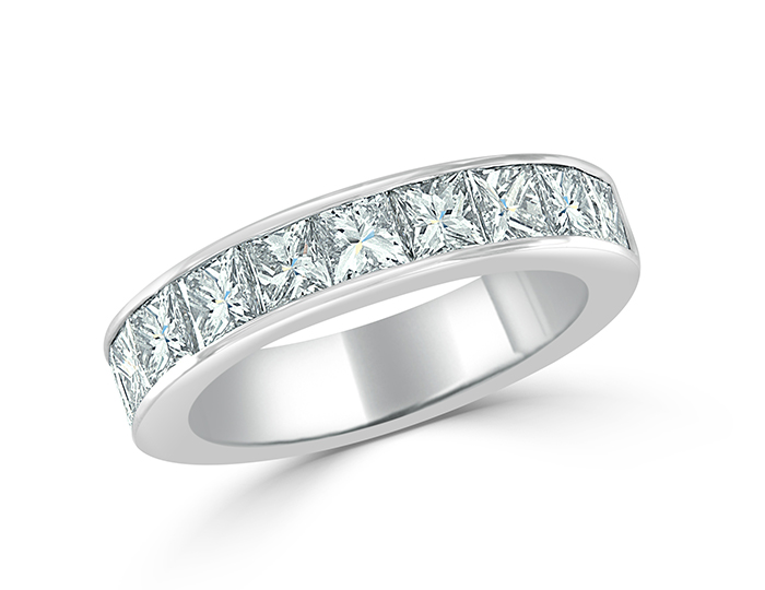Princess cut diamond band in platinum.