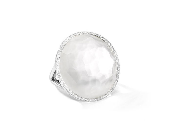 IPPOLITA Sterling Silver Lollipop Ring in Mother-of-Pearl Doublet with Diamonds.