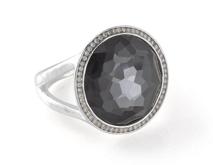 IPPOLITA Sterling Silver Stella Lollipop Ring in Hematite Doublet with Diamonds.