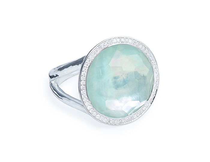 IPPOLITA Lollipop Sterling Silver, Quarts, Mother-of-Pearl, Amazonite ring with Round Brilliant cut Diamonds.