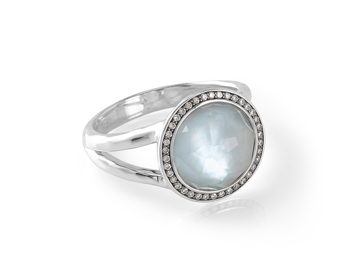 Ippolita Stella Collection blue topaz mother-of-pearl and round brilliant cut diamond ring in sterling silver.