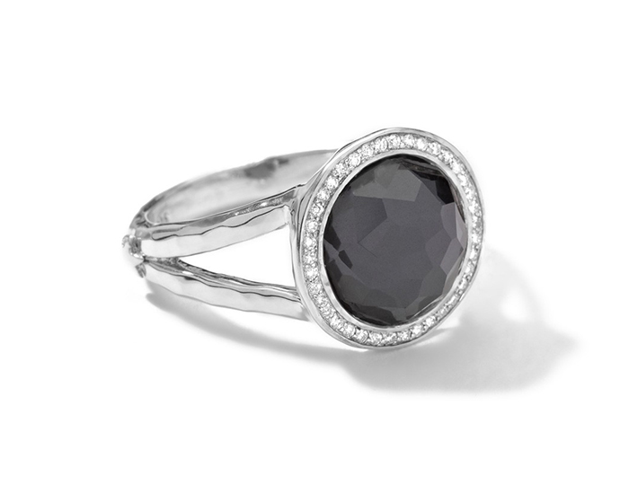 IPPOLITA Sterling Silver Stella Ring in Hematite Doublet with Diamonds.