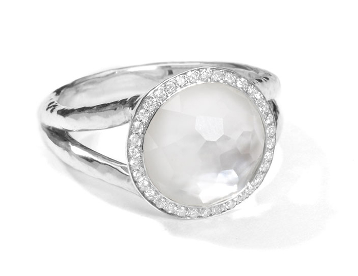 IPPOLITA Sterling Silver Stella Mini Lollipop Ring in Mother-of-Pearl Doublet with Diamonds.