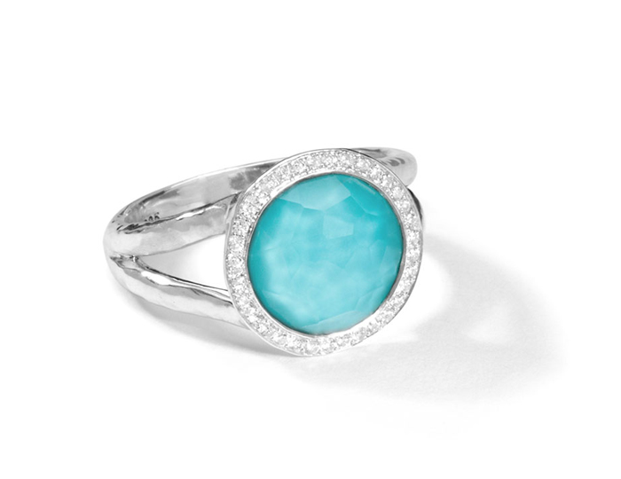 IPPOLITA Sterling Silver Stella Mini Lollipop Ring in Turquoise Doublet with Diamonds.