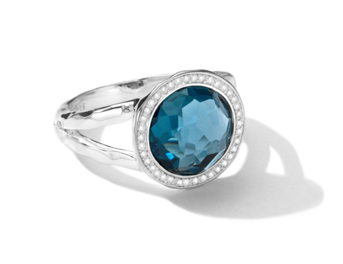 IPPOLITA Sterling Silver Stella Mini Lollipop Ring in London Blue Topaz with Diamonds.