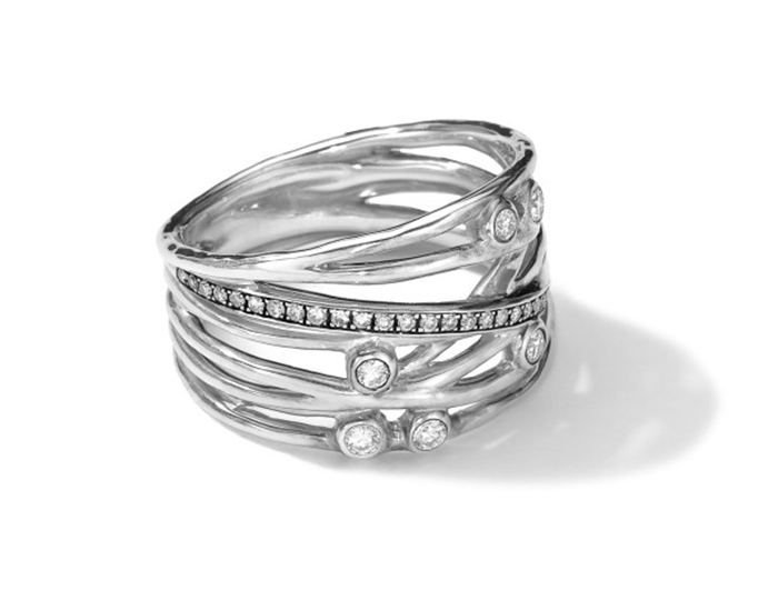 IPPOLITA Sterling Silver Multi Band Ring with Diamonds.