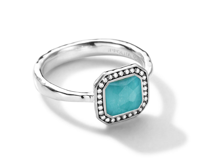 IPPOLITA Sterling Silver Stella Square Ring in Turquoise Doublet with Diamonds.