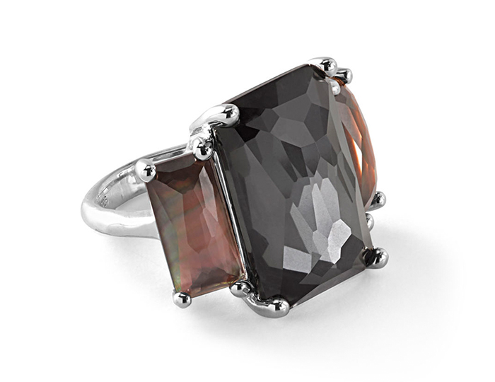 IPPOLITA Sterling Silver Rock Candy 3-Stone Prong Set Ring in Black Tie.