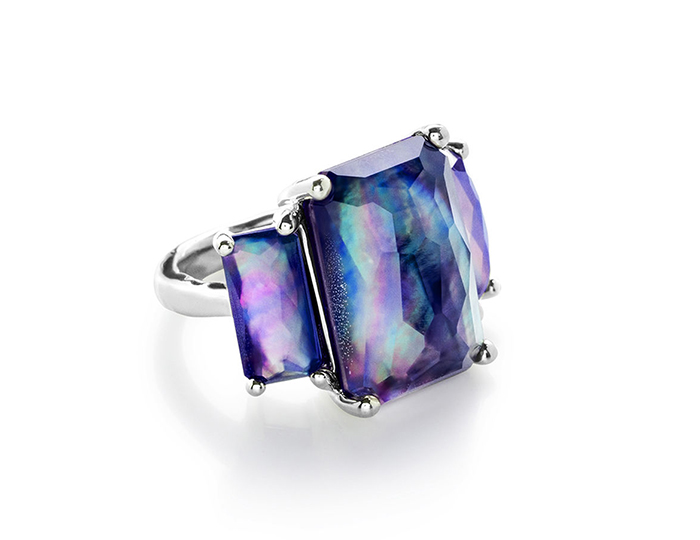 IPPOLITA Sterling Silver Rock Candy 3-Stone Prong Set Ring in Clear Quartz and Mother-of-Pearl and Lapis.