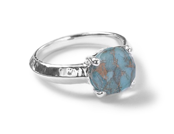 IPPOLITA Sterling Silver Rock Candy Single Stone Prong Knife Edge Ring in Bronze Turquoise.