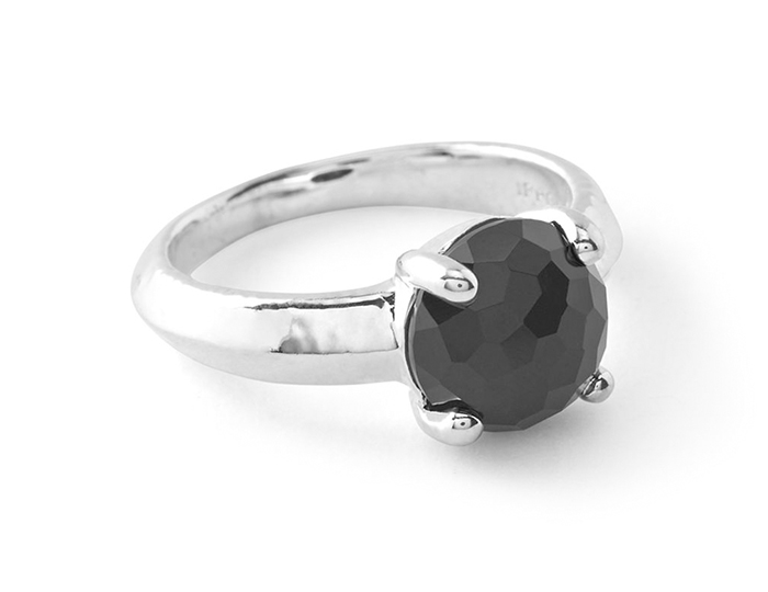 IPPOLITA Sterling Silver Rock Candy Single Stone Prong Knife Edge Ring in Black Onyx.