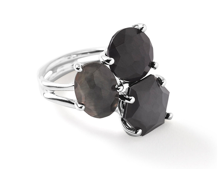 IPPOLITA Sterling Silver Rock Candy 3-Stone Cluster Ring in Black Tie.