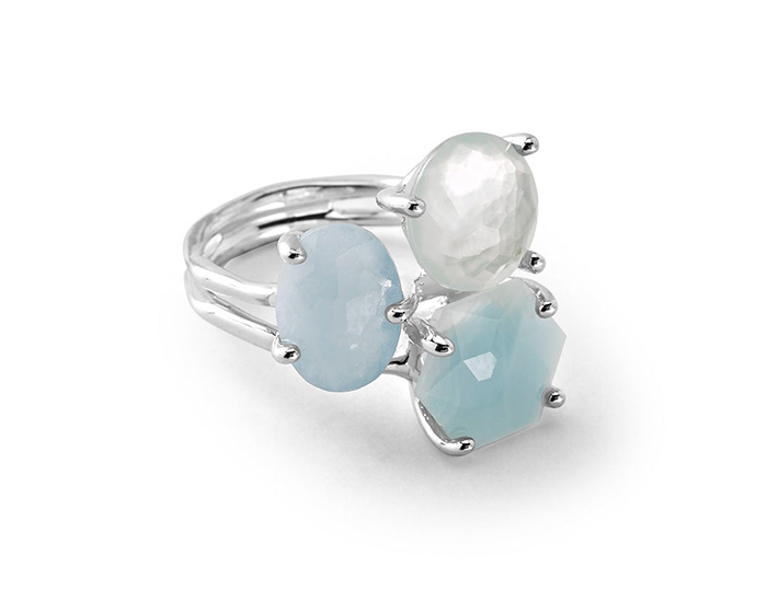 IPPOLITA Sterling Silver Rock Candy Wonderland 3-Stone Cluster Ring in Light Blue.