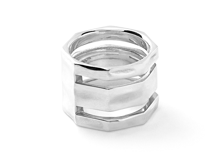 IPPOLITA Sterling Silver Glamazon Band Ring with Texture.