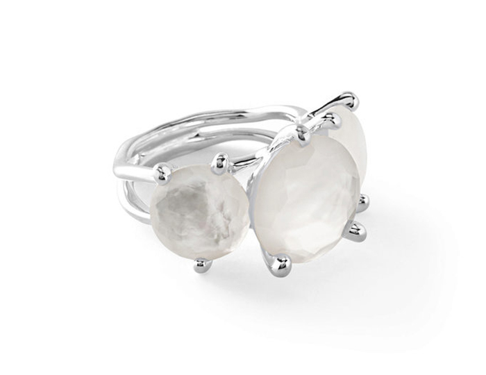IPPOLITA Sterling Silver Rock Candy 3-Stone Ring in Clear Quartz over Mother-of-Pearl Doublet.