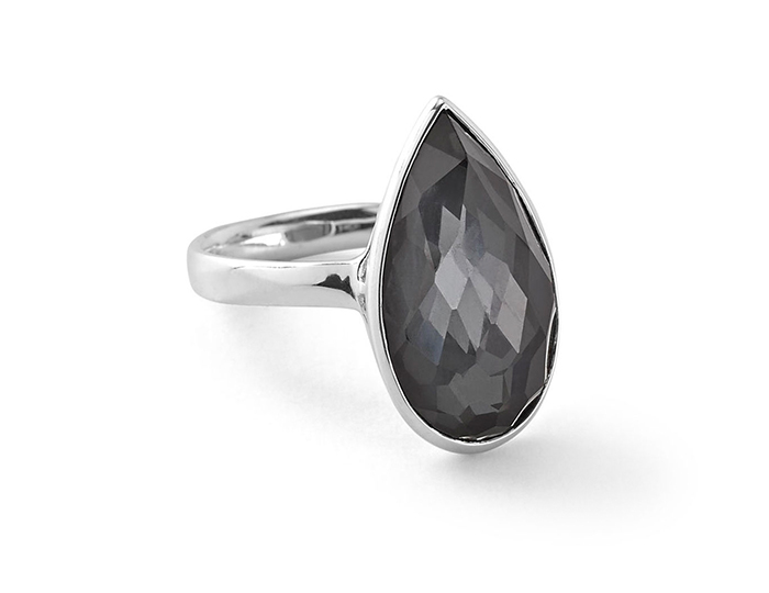 IPPOLITA Sterling Silver Rock Candy Large Pear Shaped Ringin Clear Quartz over Hematite.