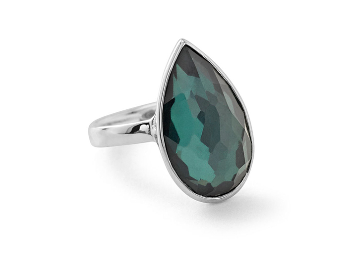 IPPOLITA Sterling Silver Rock Candy Large Pear Shaped Ring in Kelly.