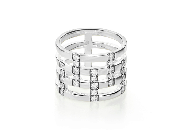 IPPOLITA Sterling Silver Glamazon Stardust Pave 4-Band Ring with Diamonds.