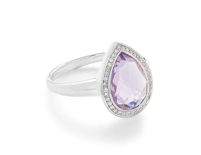 IPPOLITA Lollipop Sterling Silver Teardrop Amethyst and Round Brilliant cut Diamond ring.