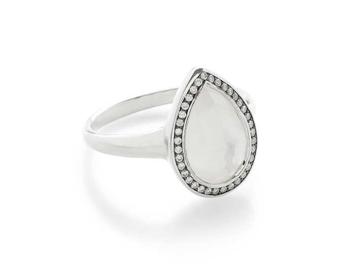 IPPOLITA Sterling Silver Lollipop Small Pear Shape Ring in Mother-of-Pearl Doublet with Diamonds.