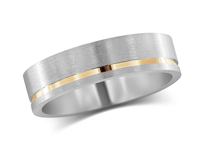Men's wedding band in 18k white and rose gold.