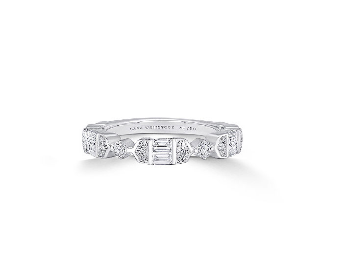 Sara Weinstock Taj collection baguette cut and round brilliant cut diamond band in 18k white gold.