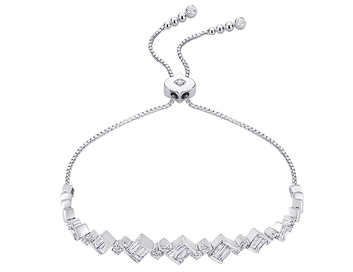 Sara Weinstock Taj collection round brillaint cut and baguette cut diamond bolo bracelet in 18k white gold.