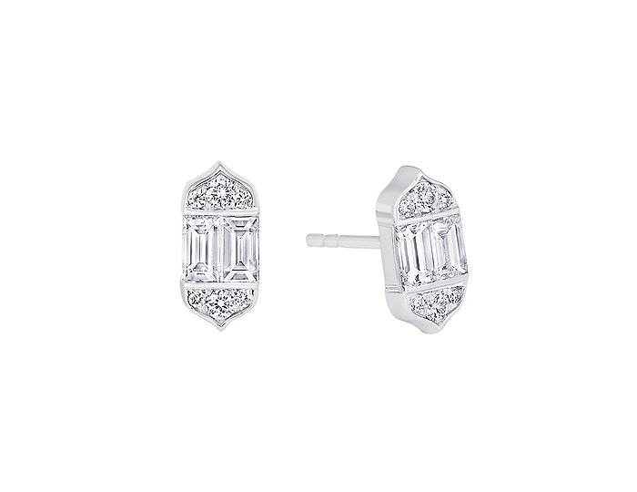 Sara Weinstock Taj collection round brilliant cut and baguette cut diamond earrings in 18k white gold.