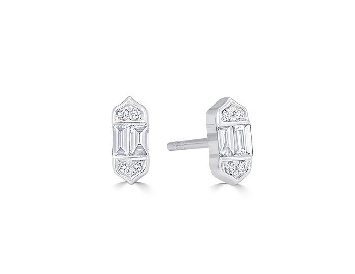 Sara Weinstock Taj collection baguette cut and round brilliant cut diamond earrings in 18k white gold.
