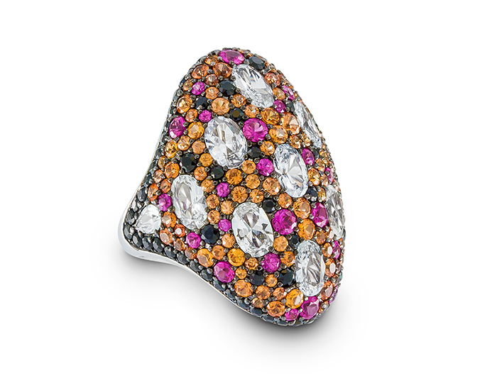 Orange, pink, black and white sapphire ring in 18k white gold.