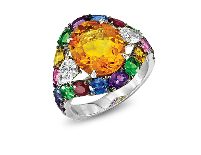18k white gold ring containing citrine, amethyst, pink tourmaline, tsavorite, yellow, pink and blue sapphires and pear cut diamonds.