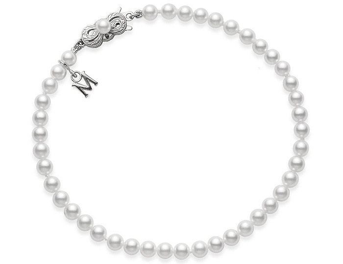 Mikimoto Everyday Essentials collection 6.5x6.0mm akoya pearl bracelet in 18k white gold.