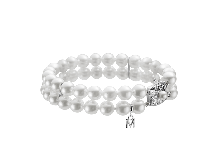 Mikimoto akoya pearl double strand bracelet in 18k white gold.